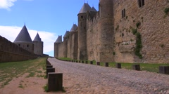 Ramparts around the beautiful castle fort at Carcassonne France. Stock Footage