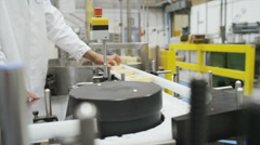 Pharmaceutical factory quality control staff - stock footage