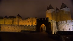 The walls and ramparts of the beautiful Carcassone Fort in the south of France Stock Footage