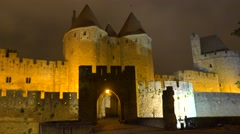 The walls and ramparts of the beautiful Carcassone Fort in the south of France - stock footage