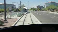Light rail coming into station from drivers seat. Stock Footage