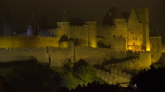 The beautiful Carcassone Fort in the south of France at night. Stock Footage