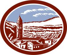 Church belfry tower tuscany italy woodcut. Stock Illustration
