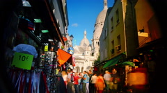 PARIS, FRANCE - CIRCA JULY 2014: Tourists at the historic Montmartre district Stock Footage