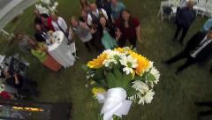 POV Bouquet Toss Slow Motion Stock Footage
