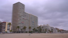 Modern apartments and offices along the beach in Castellon, Spain. Stock Footage