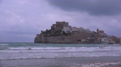 The beautiful castle on the peninsula of Castellon, Spain. Stock Footage