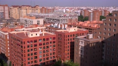 High angle view over apartment buildings in Valencia, Spain. Stock Footage