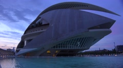 Unusual futuristic spaceship architecture of Valencia, Spain suggests a science Stock Footage