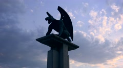 A mythical gryphon statue near the city of Valencia, Spain. Stock Footage