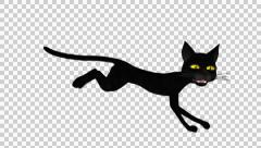 Stock Video Footage of Black Cat - Running Cycle - Loop - Alpha Channel
