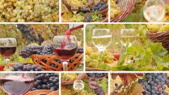 Pouring wine in the vineyard, collage Stock Footage