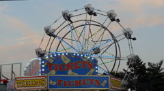 Ticket Booth and Ferris Wheel Stock Footage