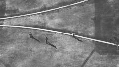 Surreal Overhead View Of Distant People Walking. Expressionistic Stock Footage