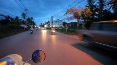 Thailand, Koh Samui 16 july 2014 Motion Thai night street on motobike. Video Stock Footage