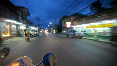 Thailand, 16 july 2014 Motion Thai night street on motobike. Video from Koh Stock Footage