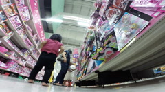 Baby and children to happy to shopping in toy section - stock footage