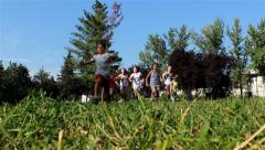 Children running in the park. Young kids race on the green grass. Low angle. - stock footage