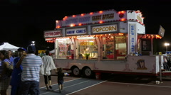 Illuminated Concession Fair Stand Stock Footage