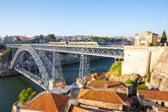 dom luiz bridge porto - stock photo