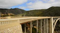 Pan of Bixby Creek Bridge, Big Sur California - Time Lapse Stock Footage