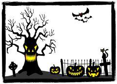 creepy tree at a cemetery on halloween - stock illustration