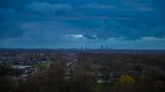 Skyline Dutch city Den Haag Autumn sundown and Moon Stock Footage