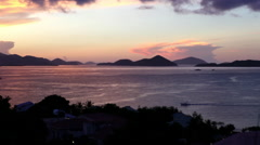 Sunset over bay in the United States Virgin Islands Stock Footage