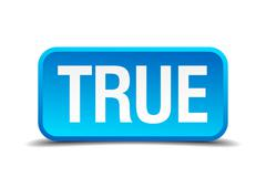 true blue 3d realistic square isolated button - stock illustration