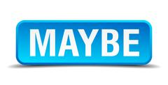 maybe blue 3d realistic square isolated button - stock illustration