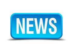 News blue 3d realistic square isolated button Stock Illustration