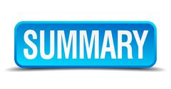 summary blue 3d realistic square isolated button - stock illustration