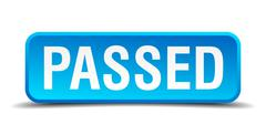 Passed blue 3d realistic square isolated button Stock Illustration