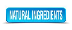 Natural ingredients blue 3d realistic square isolated button Piirros
