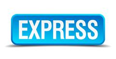 Express blue 3d realistic square isolated button Stock Illustration