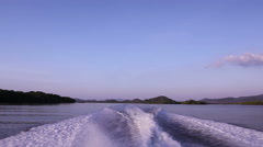 Backwaters behide speedboat Stock Footage