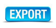 Export blue 3d realistic square isolated button Stock Illustration