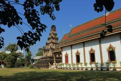 Thai temple of buddhism, wat cham thewi in lamphun, thailand Stock Photos