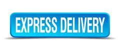 Stock Illustration of express delivery blue 3d realistic square isolated button
