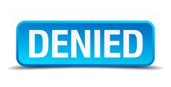 denied blue 3d realistic square isolated button - stock illustration