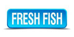 Fresh fish blue 3d realistic square isolated button Stock Illustration