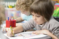 kids drawing at kindergarten - stock photo