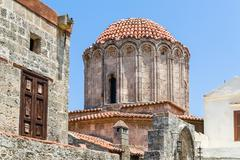 Ancient tower in Rhodes old town - stock photo