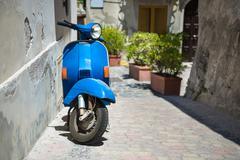 Retro blue scooter Stock Photos