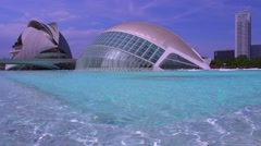 Unusual futuristic architecture of Valencia, Spain suggests a science fiction Stock Footage
