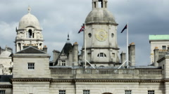 British flag waving on the roof of Horse Guards Parade. Stock Footage