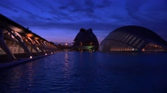 Futuristic architecture of Valencia, Spain at night. Stock Footage