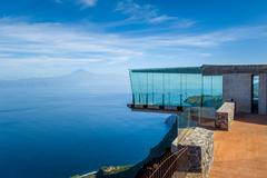Glass observation tower at mountains. La Gomera islands Stock Photos