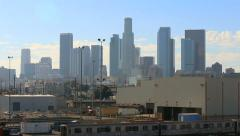 Peaceful Los Angeles City Skyline with Blue Sky and Clouds Stock Footage