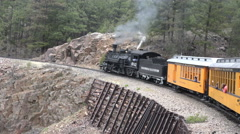 Steep mountain grade coal fired steam engine railroad 4K 172 Stock Footage